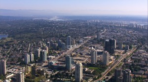 urban aerial treated Kingsway Metrotown looking SE